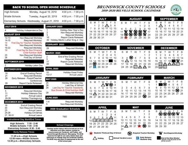 Brunswick County School Calendar 2021 2019 2020 School Calendars Now Available